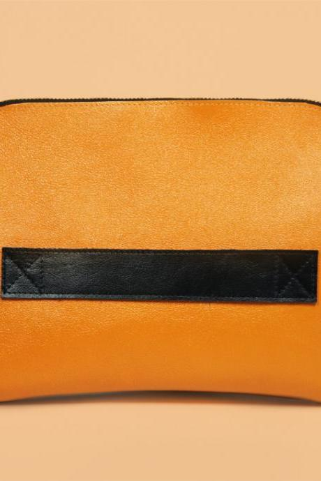 Megan Pumpkin - Handmade Leather Clutch / Leather Purse / Orange Clutch / Pumpkin Handbag