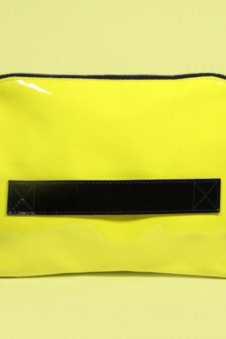 Neon Yellow Leather Clutch 'Megan Lemon', Handmade Clutch Purse, Lemon Clutch Bag, Yellow Clutch for iPad mini, Gift for Women, Gift for Her